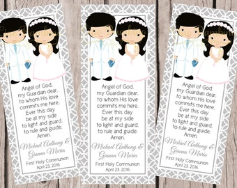 PRINTABLE First Holy Communion Bookmark for Twins, Siblings or Cousins / Choose Hair and Skin Color / Print Your Own Bookmarks - HC11
