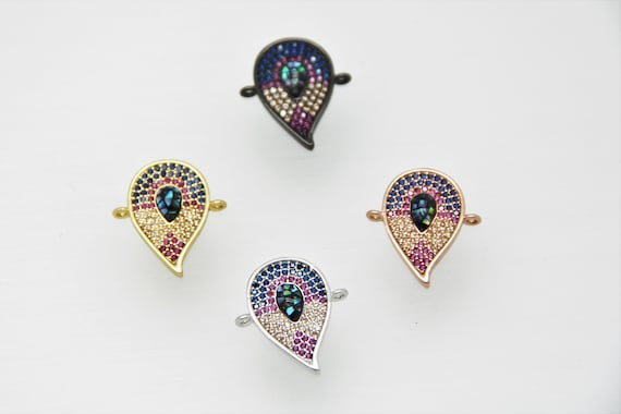 Abalone Mosaic With CZ Micro Pave 15x20mm Teardrop Coin Connectors