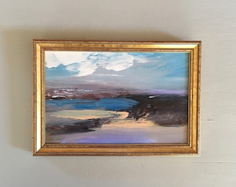 Beach Study  Painting- Blue Lavender Beach- Framed- Painting - Original Painting-  6-1/4 x 9 approx. inch - including Frame - Fine Art