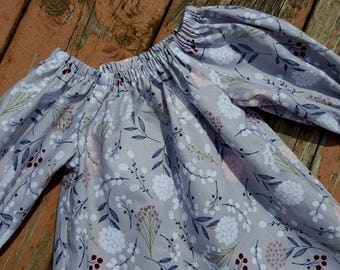 Fall Girl's Infants Toddlers Gray Floral Peasant Dress Photo Shoot Family Pictures