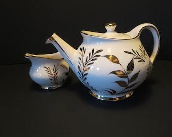 TEAPOT AND CREAMER, Sudlow's Burslem, Vintage service, Tea set, Dining serving, England teapot, Gold and Ivory, Gift