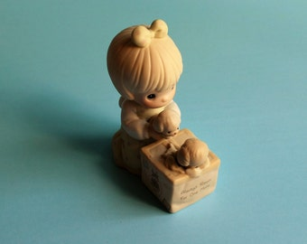 """Vintage Precious Moments """"Always Room for One More"""" porcelain figurine, C-0109 Collectors Club Enesco, 1989 Symbol of Membership"""