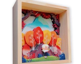 Paper Sculpture | Paper Cut | Paper Art | Girl With Sanke | handmade | 3D paper art | Shadow Box