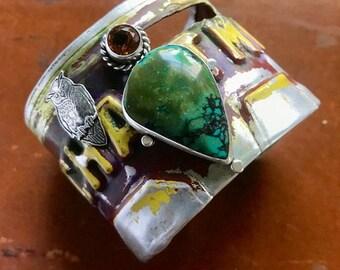 New Mexico Land of Enchantment Tibetan Owl License Plate Cuff Bracelet