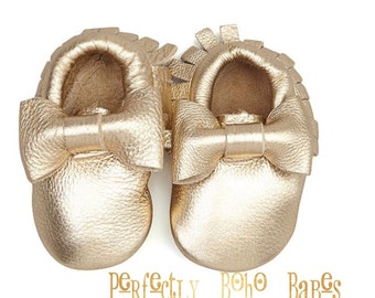 Gold Baby Leather Moccasins with Bows