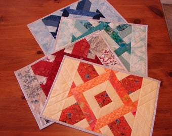 Yellow Red Teal Blue Pieced and Quilted Placemats