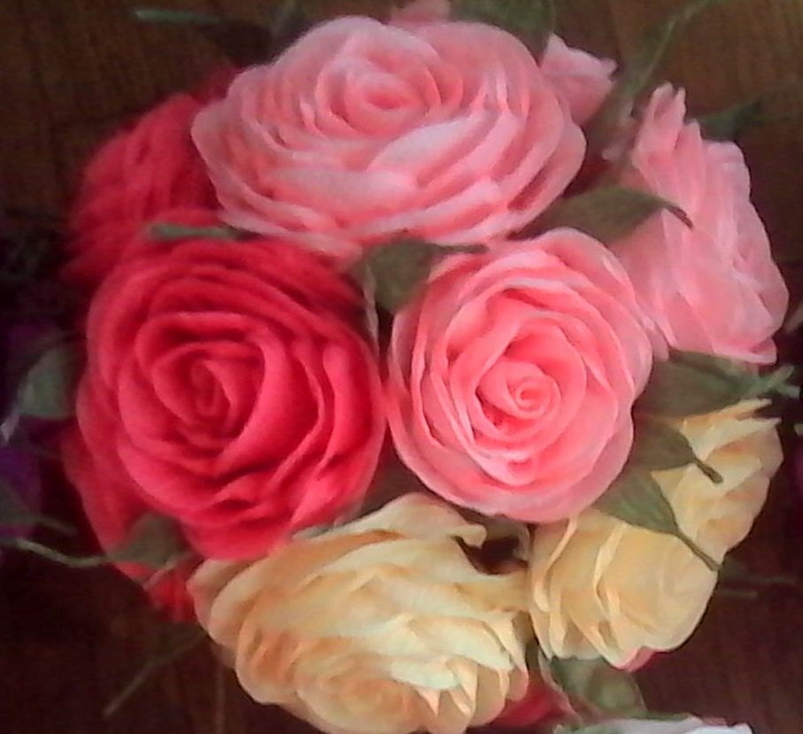 Kissing ball crepe paper flowers pink coral peach beige zoom mightylinksfo Image collections