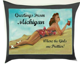 Vintage Pin-Up Girl Style Michigan Pillow