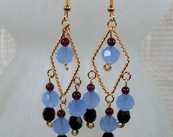 Chandelier Earrings / Blue Earrings / Handmade Earrings / Beaded Earrings / Garnet Earrings / Unique Earrings / Boho Earrings