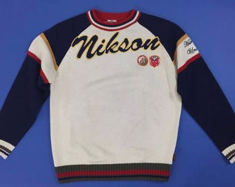 Nikson Vintage knitted sweater beige blue suit cardigan XL used man T791