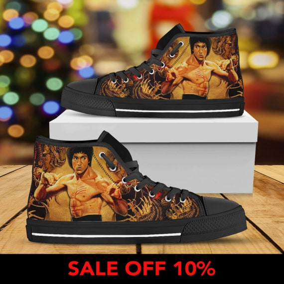Bruce Top Kung Lee High The Converse Shoes Sneaker Martial Lee Shoes Custom fu Dragon Lee Enter Bruce Arts Converse Custom Bruce FaqtcP