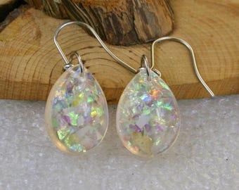 Small  Resin  teardrop  glitter holographic mica earrings  ,  Resin Jewelry , Resin holographic mica Jewelry , resin earrings