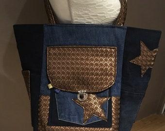 Imitation and denim tote bag