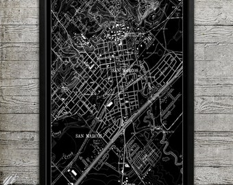 Map of San Marcos TX Print, Wall Decor for your Home or Office