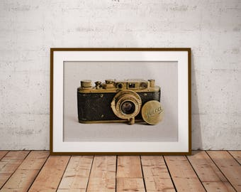 Leica Camera Art Print, Vintage Camera Wall Art, Gift For Photographer,  Rustic Industrial