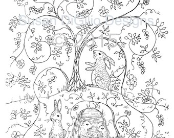 DIY Wall Decor -Printable Coloring Page - Bunnies in the Bramble - Rabbit - Bunny - Woodland Wall Art - Folk Art  - DIY Nursery Art - Forest