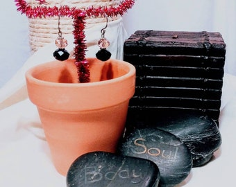 Rose Quarts & Black Onyx Dangle Earrings.