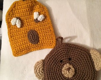 Bear and Bee Hive hot pads