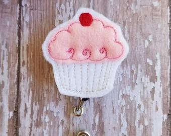 Cupcake Badge Reel, Cupcake Id Holder, Badge Reel, Retractable Badge Holder, Nurse Badge Reel, Felt Badge Reel, Nurse Gift, Id Holder