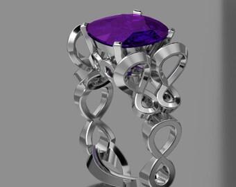 10KT White Gold Ametyst Butterfly Designer Ring