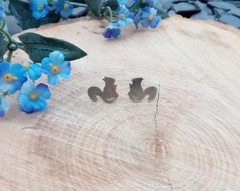 Sterling silver squirrel stud earrings