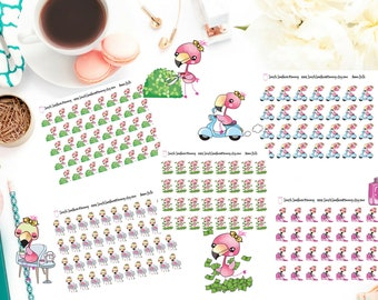 Anna Belle the Flamingo Functional Activity Stickers