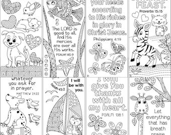 8 Printable Animal + Insects Bible Coloring Bookmarks; Animal Scripture Bookmarks; Digital downloads
