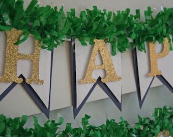 Green and Blue Birthday Banner - Happy Birthday Banner - Birthday Decoration - Birthday Garland  - Birthday Photo Prop - Preppy Birthday