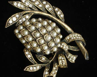 Vintage Pin Rhinestones Imitation Pearls Fruit Berry Branch Leaf
