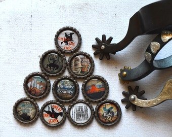 Cowboy Bottlecap Magnets- Western Cowboy Decor- Refrigerator Magnets- Gift For Him- Country Western- Cowboy Country Magnets- Cowboy Gift