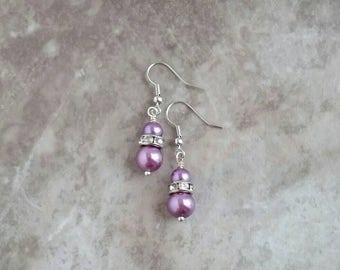 Violet, pearl, vintage, inspired dangle earrings, bridal, bridal party, prom, formal, special occasion, dangle earrings