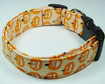 Halloween Black or Orange Glow in the Dark Pumpkins Dog Collar