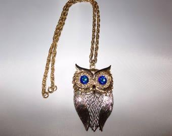 Vintage Two Tone Owl Necklace with Rhinestone Eyes