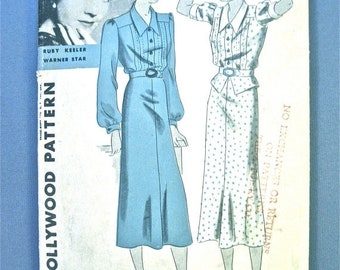 Spring Sale Hollywood 1167 vintage sewing 30s dress pattern from the early 1930s featuring Ruby Keeler film star  Bust 38 inches