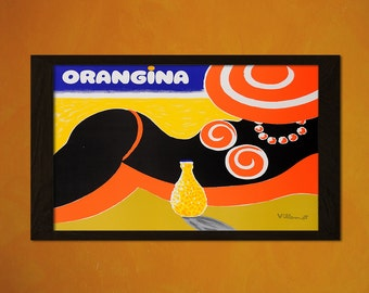 Vintage Orangina Poster - Vintage Print Retro Kitchen Decor Kitchen Poster Kitchen Prints Orangina  t