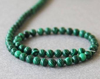 Green Malachite: 20 natural semi precious 6mm beads