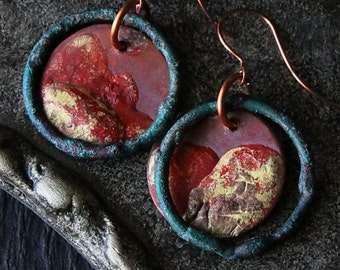 Rustic Copper Earrings Tribal, Organic Patina Ethnic Gypsy Verdigris Patina Hoop Earrings Copper Rustic Earrings Jewelry Gift Idea For Her