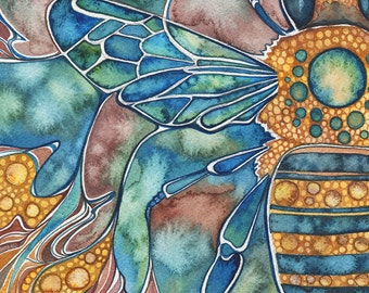 Honey Bee 8.5 x 11 print of detailed watercolour artwork in muted earth tones, mauve aqua yellow, art nouveau