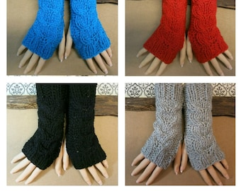 Cabled Fingerless Arm Warmers, Womens Chunky Knitted Gloves