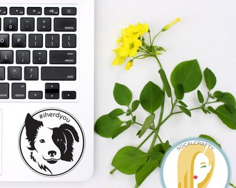 Border Collie Vinyl Decal, Collie Sticker, Dog Decal, Laptop Decal, Tablet Decal, Car Window Decal, Vinyl Decals, SoCalCrafty, Modern Simple
