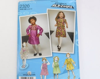 Simplicity 2320 Pattern, Child's and Girl's Dress Pattern, Project Runway Inspired, Size BB 4, 5, 6, 7, 8
