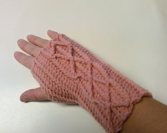 Mauve Cable Fingerless Gloves - Ready to Ship