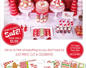 Christmas Party Gingerbread Printables   Hot Cocoa Party   Christmas Banner   Amanda's Parties To Go   85% OFF   INSTANT DOWNLOAD