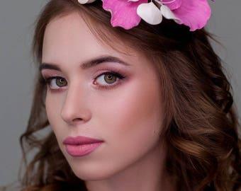 Rim on the head, alice band pink flowers, headband, Crown Tiara flowers for weddings, wedding flowers, hairdresser, flowers in your hair