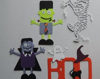 Halloween die cuts, BOO, Dracula/Vampire, Frankenstein, and Mummy.
