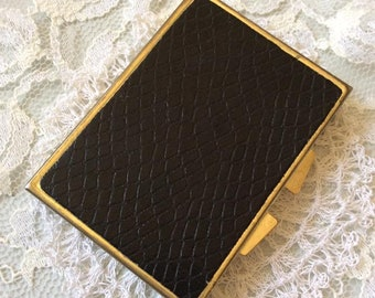 Vintage 1960s 1970s Compact Pill Medicine Box Purse Size Black Reptile Embossed Black Faux/Fake Leather Gold Tone Metal 5 Compartments