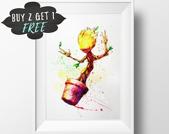 Groot Guardians Of Galaxy Wall Art Decor, Printable Poster Print, Guardians Galaxy Art Groot Accessories, Marvel Comics Wall Art Baby Groot