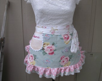 Pink Rose Aprons - Monogrammed Aprons - Shabby Chic Apron - Roses and Pink Dots Handmade Apron - Chic and Shabby Apron - Annies Attic Aprons