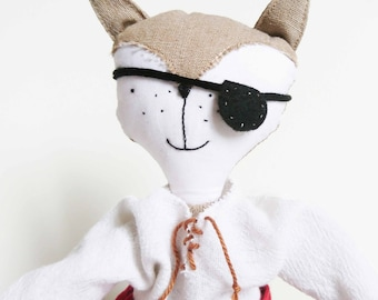 MALOU beige pirate Fox. Doll Fox about 30 cm. France