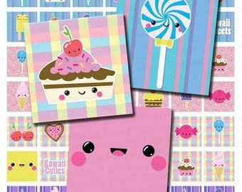 INSTANT DOWNLOAD Kawaii Sweets Digital Collage Sheet - 1 Inch Squares